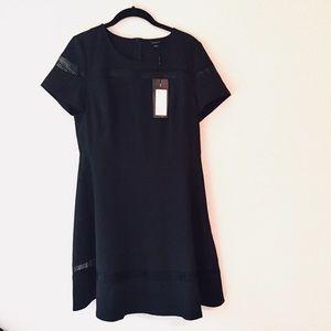 NWT Birryshop black fit & flare dress cutout mesh